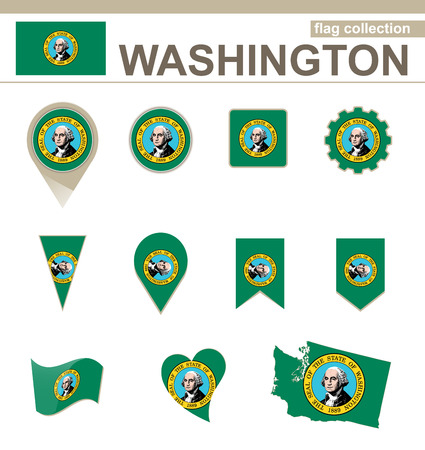 Washington Flag Collection, USA State, 12 versions Vector
