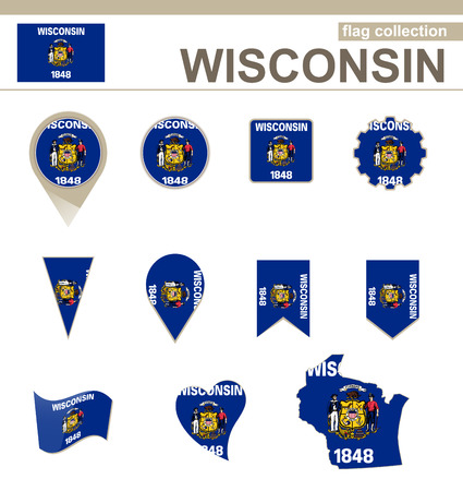wisconsin: Wisconsin Flag Collection, USA State, 12 versions