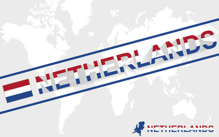 netherlands map: Netherlands map flag and text illustration, on world map