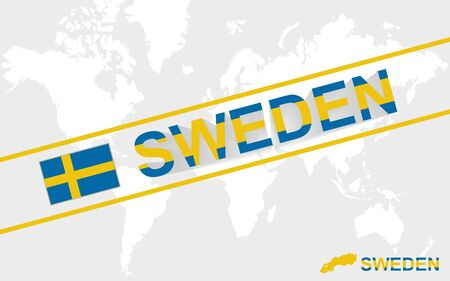 sweden map: Sweden map flag and text illustration, on world map