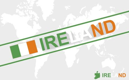 irish cities: Ireland map flag and text illustration, on world map