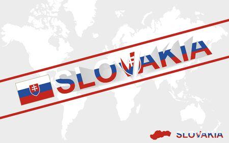 Slovakia map flag and text illustration, on world map Illustration