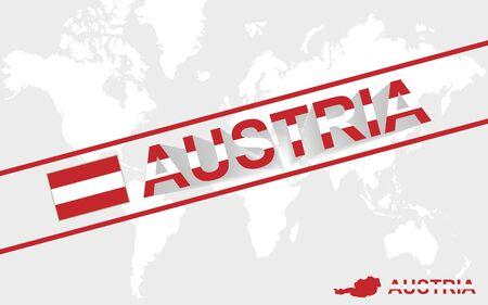austria map: Austria map flag and text illustration, on world map Illustration