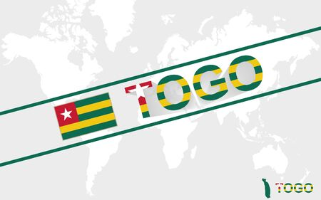 togo: Togo map flag and text illustration, on world map