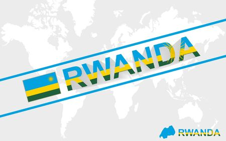 Rwanda map flag and text illustration, on world map Vector