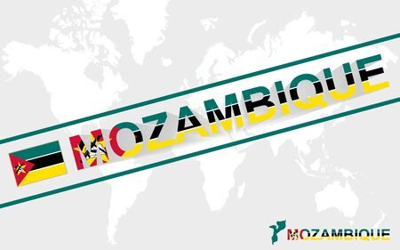mozambique: Mozambique map flag and text illustration, on world map