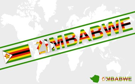 Zimbabwe map flag and text illustration, on world map Vector