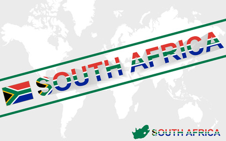 south africa map: South Africa map flag and text illustration, on world map
