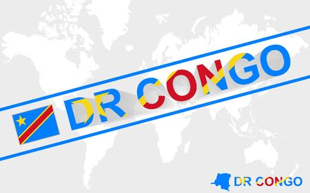 dr: DR Congo map flag and text illustration, on world map Illustration