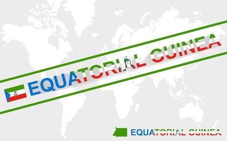 guinea equatoriale: Guinea Equatoriale mappa bandiera e l'illustrazione del testo, sulla mappa del mondo