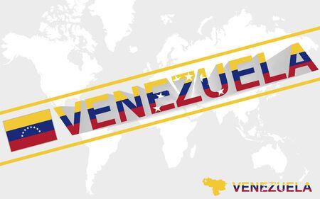 mapa de venezuela: Mapa Venezuela bandera y la ilustraci�n del texto, en el mapa mundial