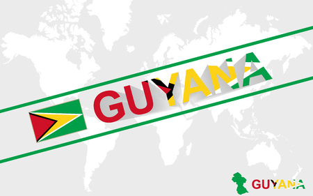 guyanese: Guyana map flag and text illustration, on world map