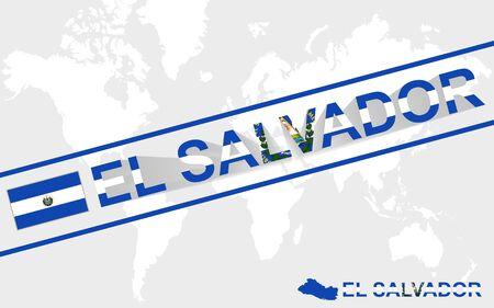 mapa de el salvador: El Salvador mapa de la bandera y de la ilustraci�n del texto, en el mapa mundial