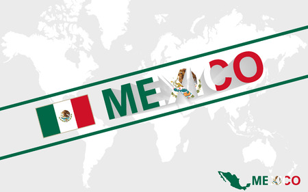 Mexico map flag and text illustration, on world map Vector