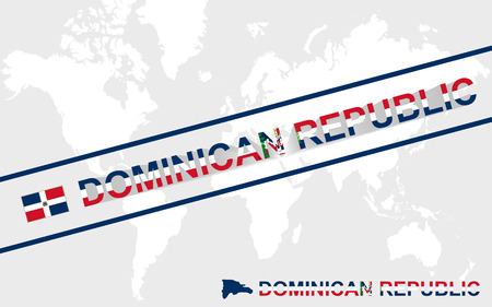 dominican: Dominican Republic map flag and text illustration, on world map