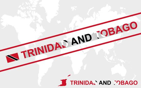 trinidadian: Trinidad and Tobago map flag and text illustration, on world map Illustration