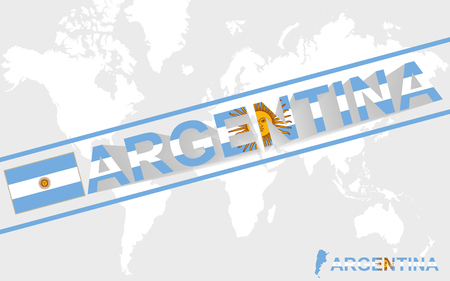 argentina map: Argentina map flag and text illustration, on world map