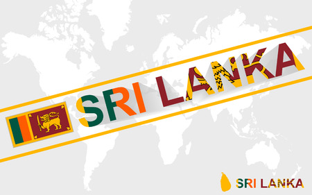 sri: Sri Lanka map flag and text illustration, on world map Illustration