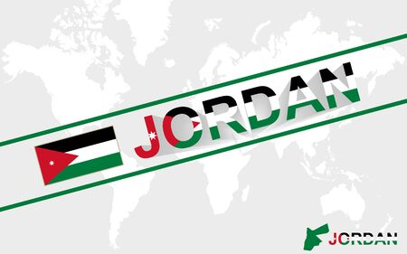 east river: Jordan map flag and text illustration, on world map