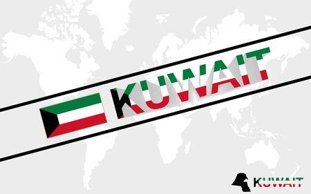 world flag: Kuwait map flag and text illustration, on world map