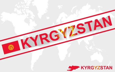 kyrgyz republic: Kyrgyzstan map flag and text illustration, on world map Illustration