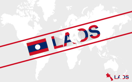 kip: Laos map flag and text illustration, on world map Illustration