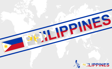 philippines  map: Philippines map flag and text illustration, on world map