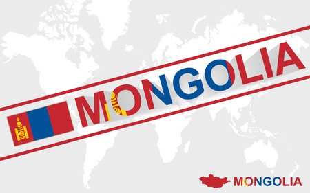 landlocked country: Mongolia map flag and text illustration, on world map
