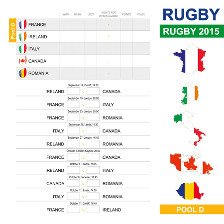 a d: Rugby 2015, Pool D, Match Schedule, all matches, time and place. France, Ireland, Italy, Canada, Romania Illustration
