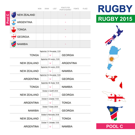 matches: Rugby 2015, Pool C, Match Schedule, all matches, time and place. New Zealand, Argentina, Tonga, Georgia, Namibia
