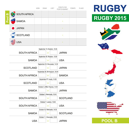 world cup: Rugby 2015, Pool B, Match Schedule, all matches, time and place. South Africa, Samoa, Japan, Scotland, USA