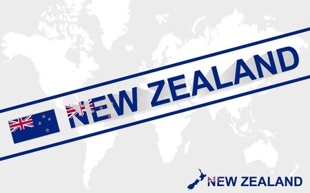 new zealand word: New Zealand map flag and text illustration, on world map Illustration