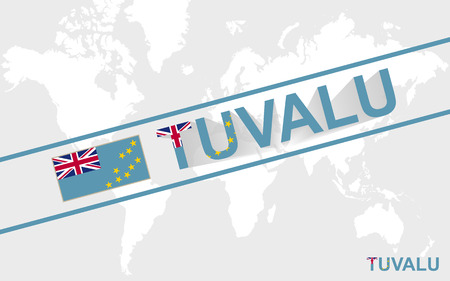 tuvalu: Tuvalu map flag and text illustration, on world map