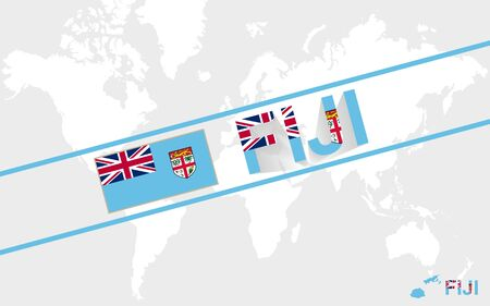 fiji: Fiji map flag and text illustration, on world map Stock Illustratie