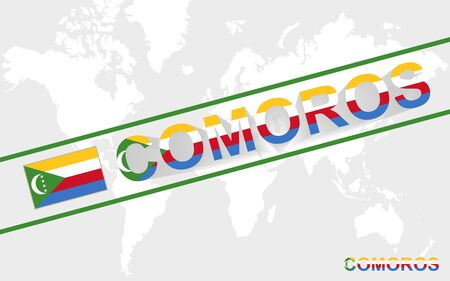 comoros: Comoros map flag and text illustration, on world map