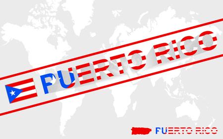 bandera de puerto rico: Puerto Rico Indicador de la correspondencia y la ilustraci�n de texto, en el mapa mundial