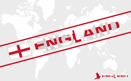 england map: England map flag and text illustration, on world map Illustration