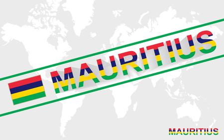 mauritius: Mauritius map flag and text illustration, on world map Illustration