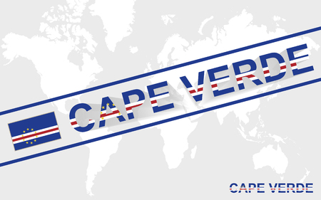 cape verde: Cape Verde map flag and text illustration, on world map