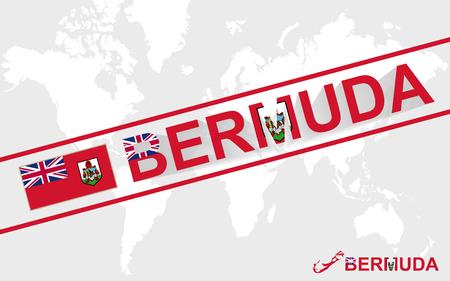 bermuda: Bermuda map flag and text illustration, on world map