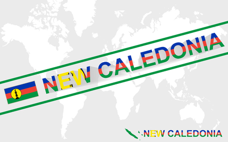 new caledonia: New Caledonia map flag and text illustration, on world map