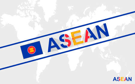 asean: ASEAN flag and text illustration, on world map