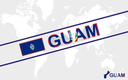 guam: Guam map flag and text illustration, on world map