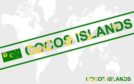 cocos: Cocos Islands map flag and text illustration, on world map