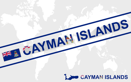cayman islands: Cayman Islands map flag and text illustration, on world map Illustration