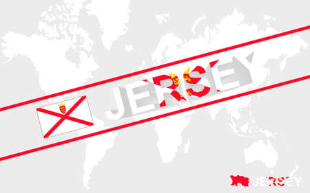 world flag: Jersey map flag and text illustration, on world map