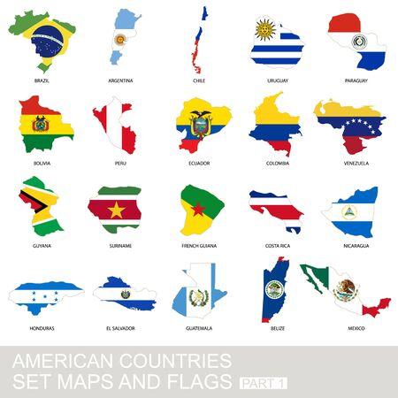 banderas america: establecen los países de América, mapas y banderas, parte 1
