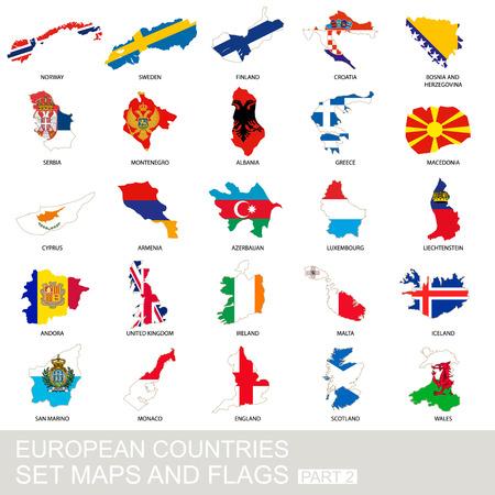 欧州諸国の設定、マップ、フラグ、パート 2