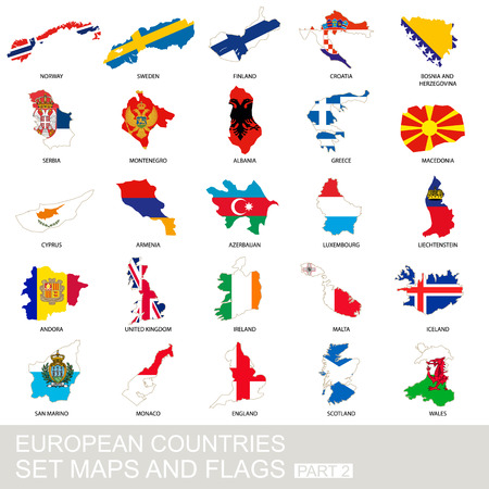 European countries set, maps and flags, part 2