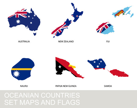 oceania: Oceania countries set, maps and flags